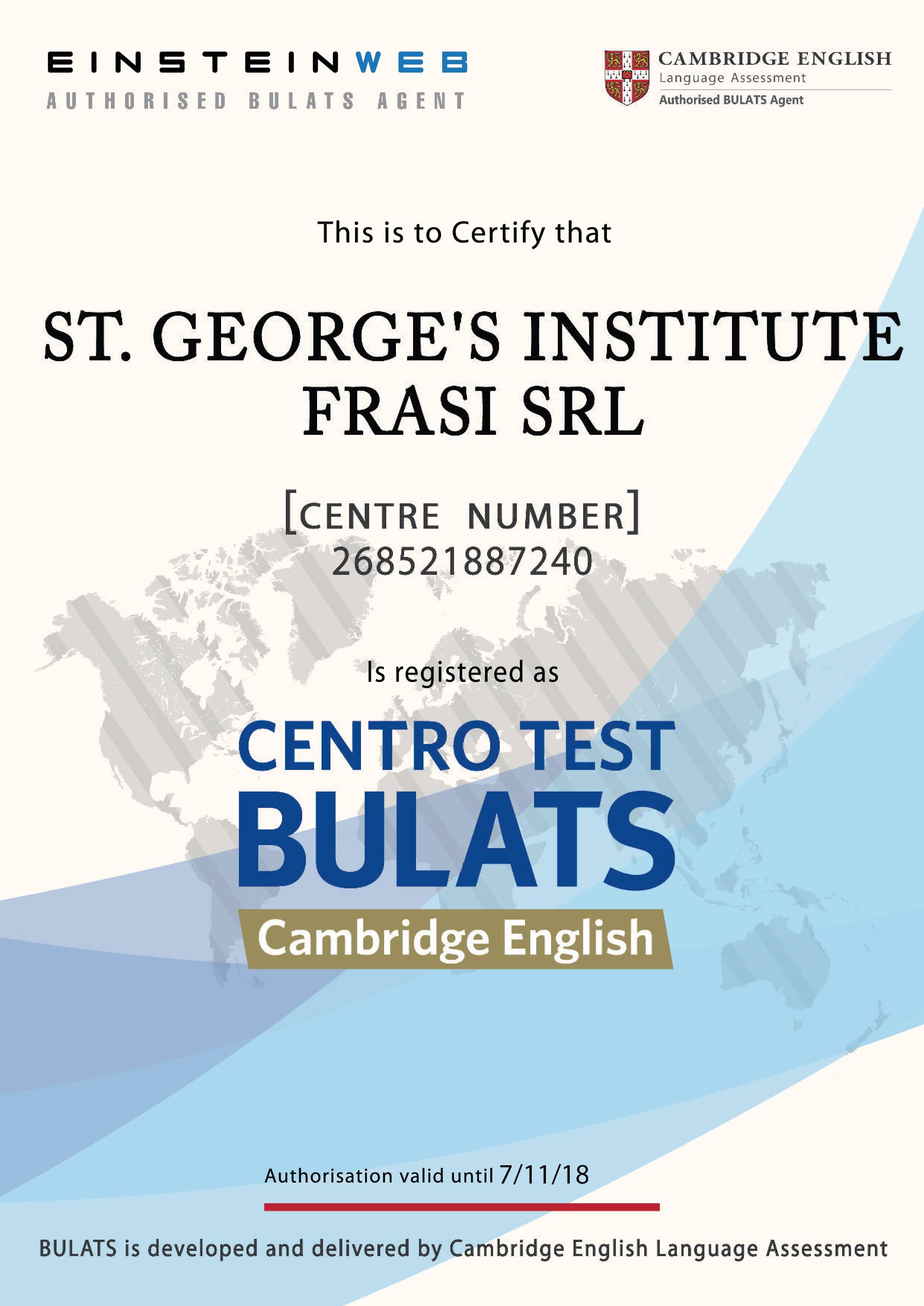 certificato BULATS_ST. GEORGE'S INSTITUTE - FRASI SRL web